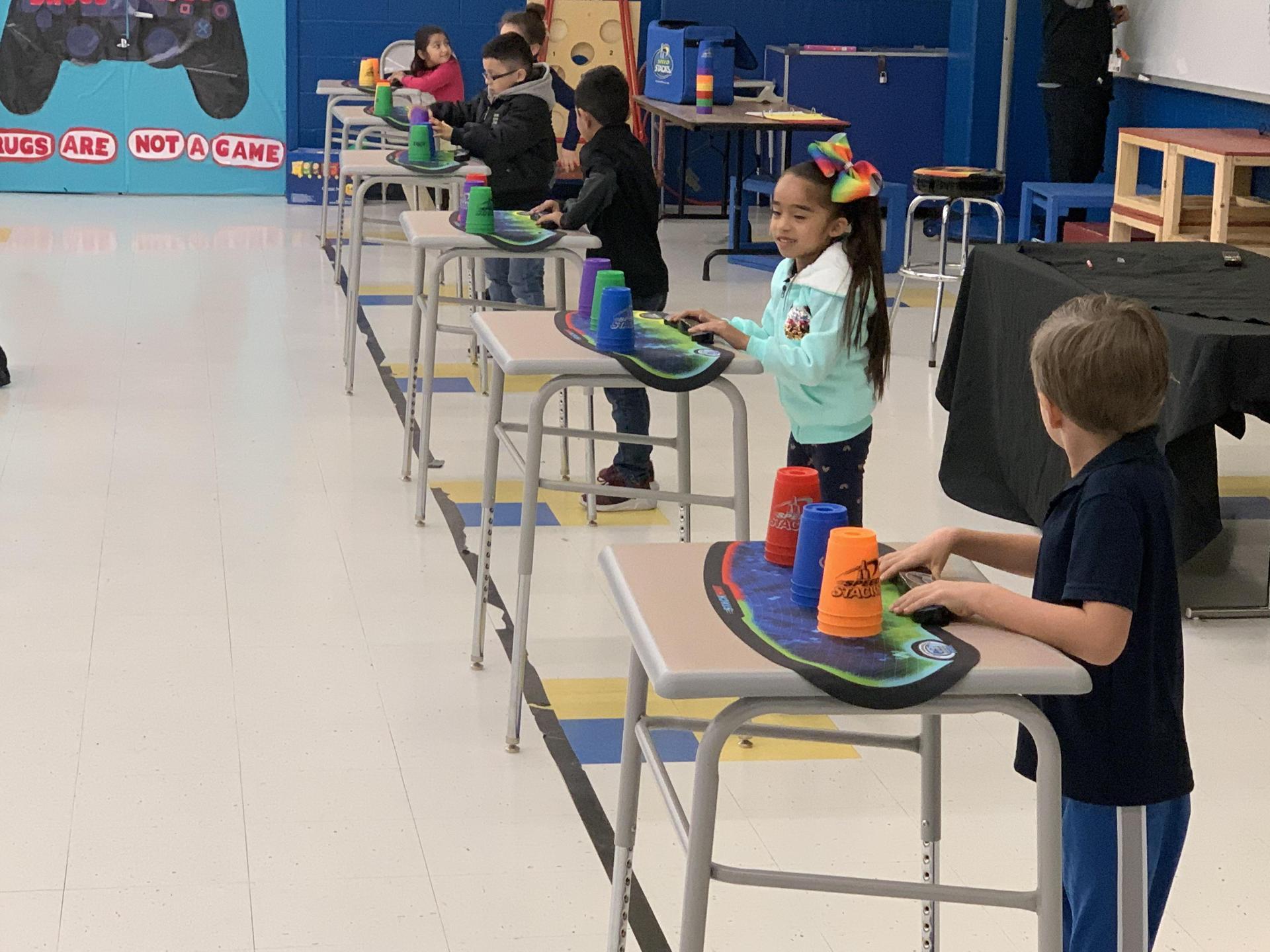 Jackson Elementary Cupstacking Fun