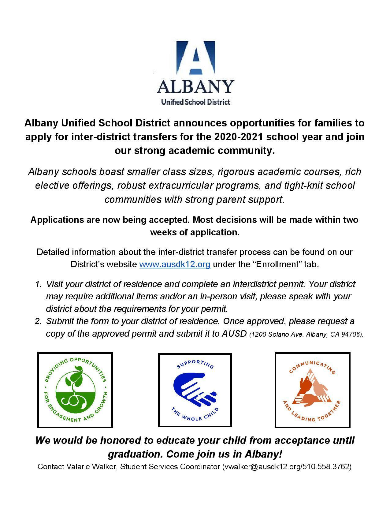 AUSD announces opportunities for families to apply for inter-district transfers