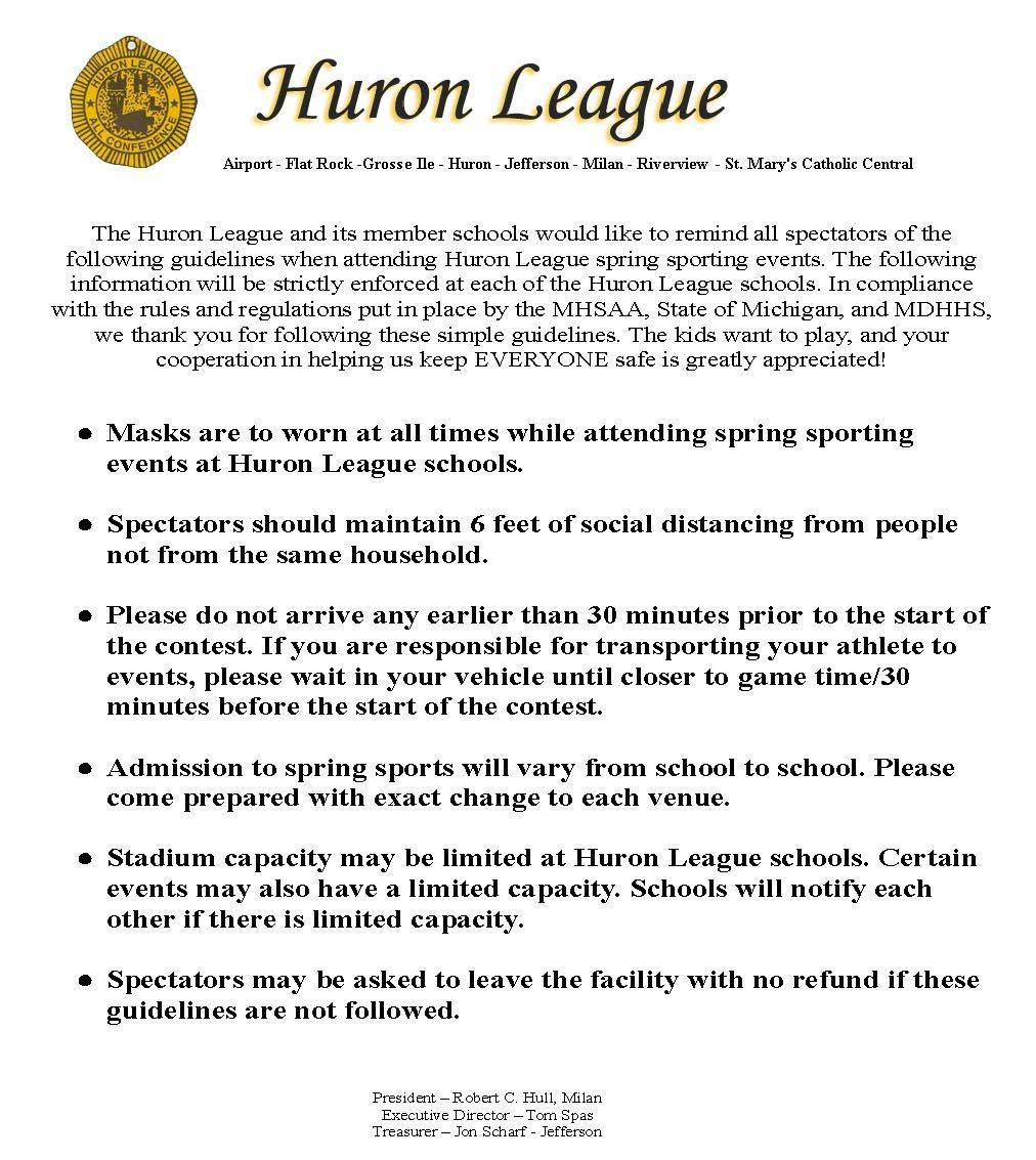 Huron League Guidelines for Spring Sports