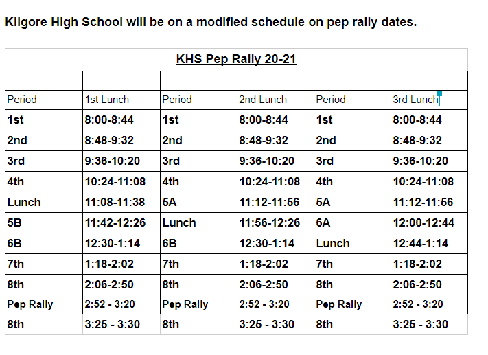 Pep Rally Schedule Featured Photo