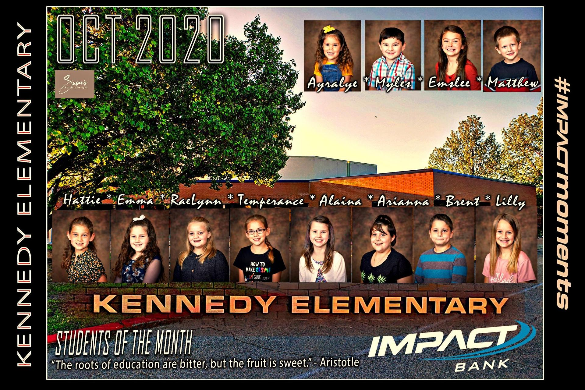 Kennedy Students of the Month OCT 2020