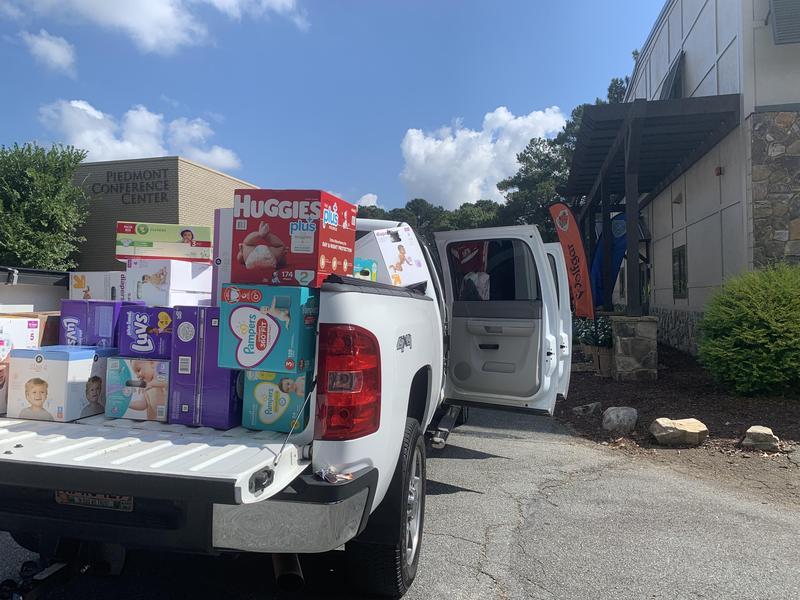 truck full of diapers