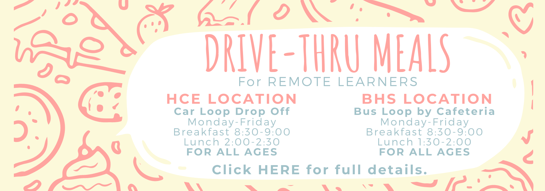 Drive through meals for remote learners.