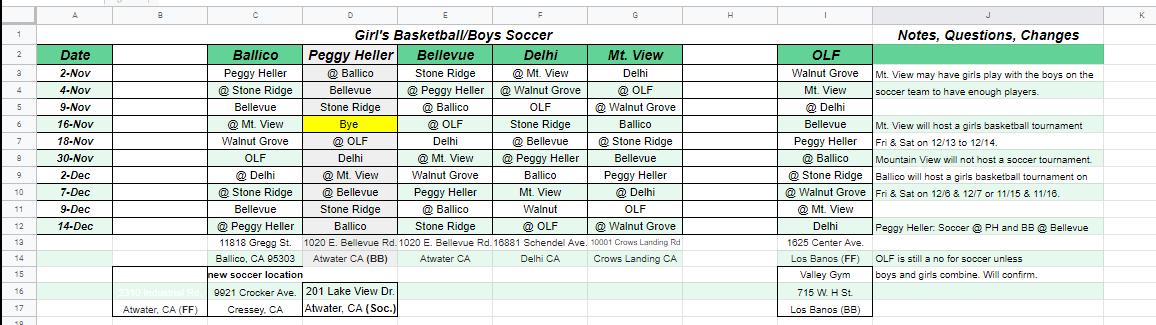 Girls Basketball/Boys Soccer