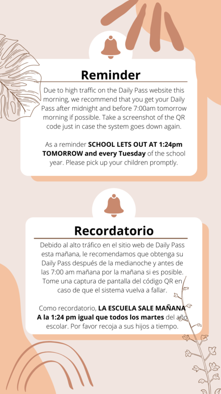 Daily Pass - Early Dismissal Tuesdays/ Pase Diario - Salida Temprana los Martes Featured Photo