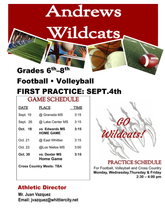 Grades 6th-8th Football and Volleyball practice