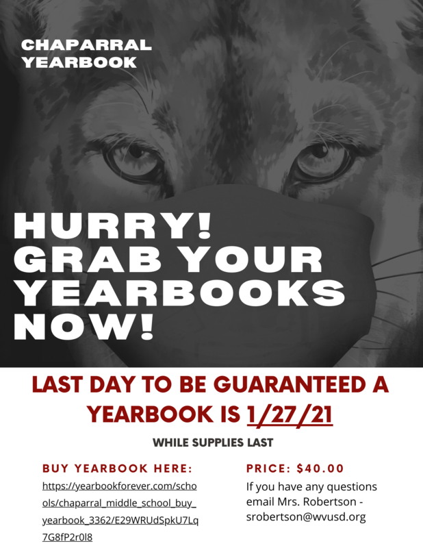 Buy Your 2020 2021 Chaparral Yearbook Today! Hurry, the deadline to order is approaching Featured Photo