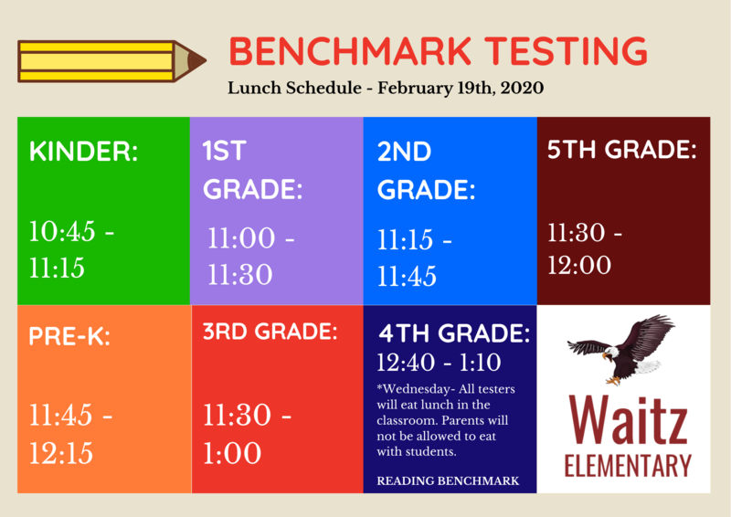 February 19th Benchmark Testing Lunch Schedule