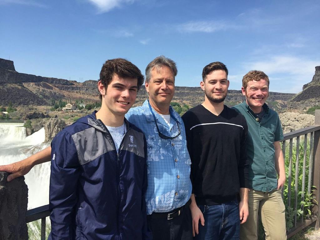 My husband and his three wonderful sons. Yes, we have SEVEN children altogether!