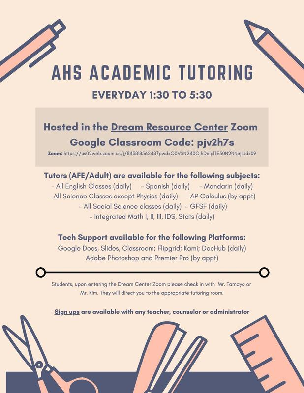 AHS NOW OFFERING ACADEMIC TUTORIAL EVERYDAY AFTER CLASSES!!! Featured Photo
