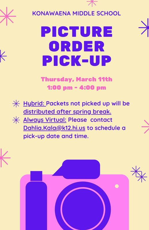 Picture Order Pick-up details with a cream color background, stars and a camera in pink and blue with color corresponding event information