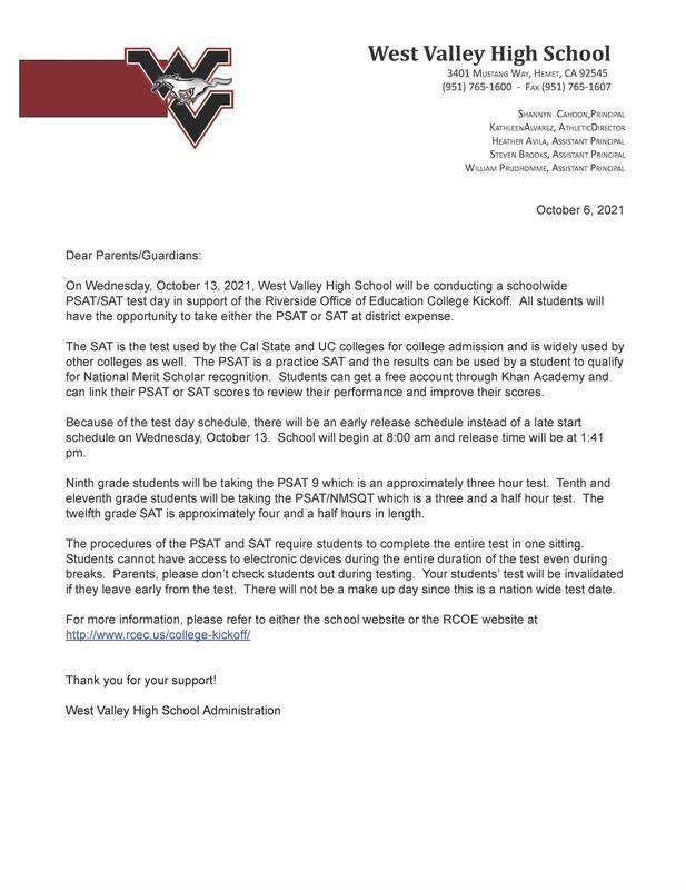 SAT Parent Letter