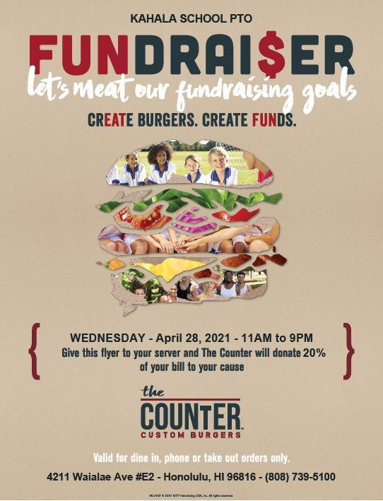 Fundraiser at The Counter 4/28/21 - 11 am to 9 pm