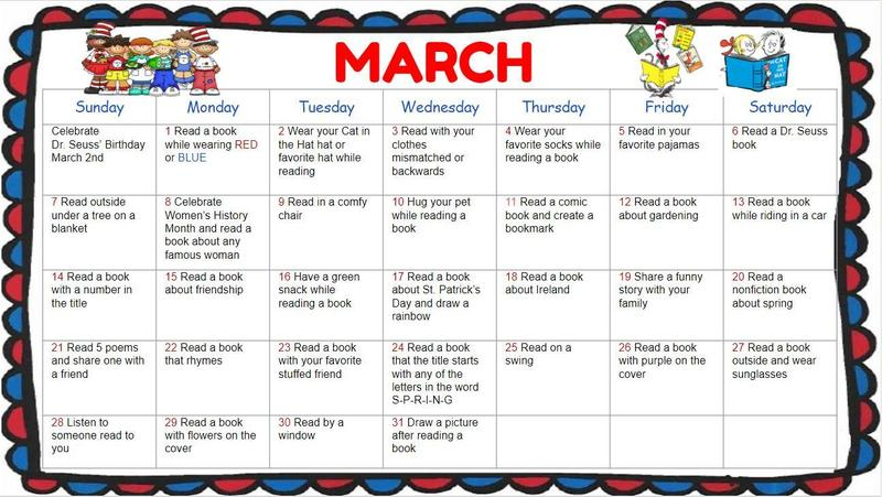 March Reading Calendar Featured Photo