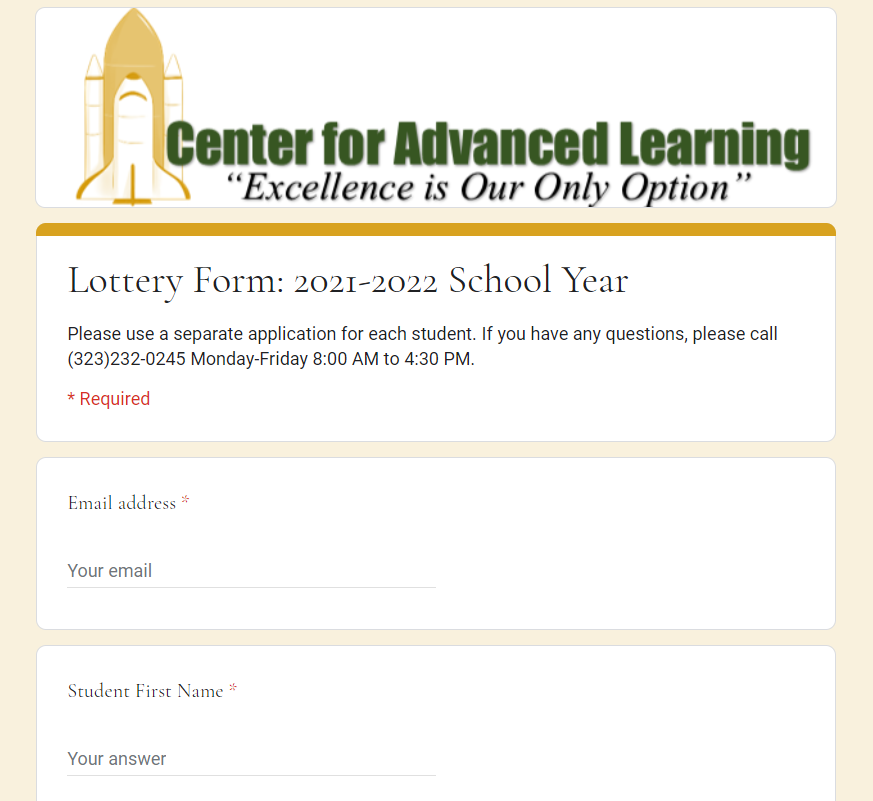 CAL Lottery Form 2021-22
