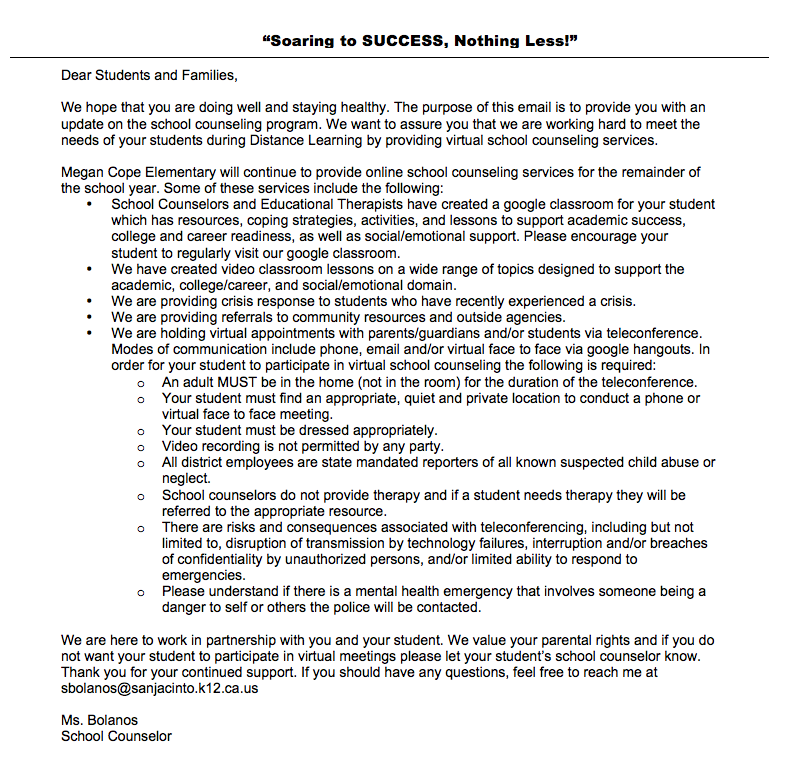 Distance Learning School Counseling Update