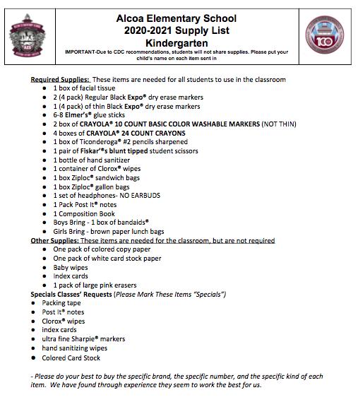 Kindergarten Supply List 2020-21