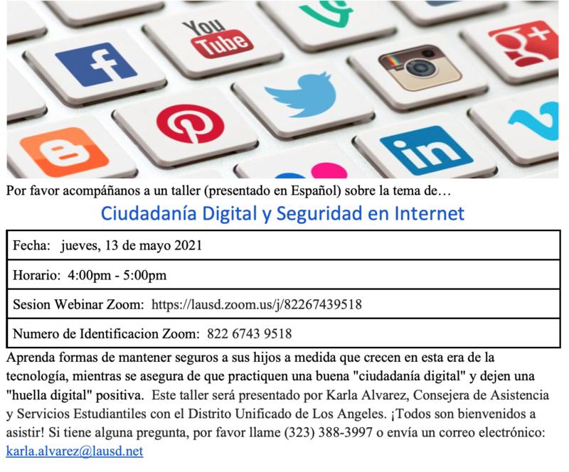 Taller Ciudadanía Digital y Seguridad en Internet  Fecha: jueves, 13 de mayo 2021 Horario: 4:00pm - 5:00pm Featured Photo