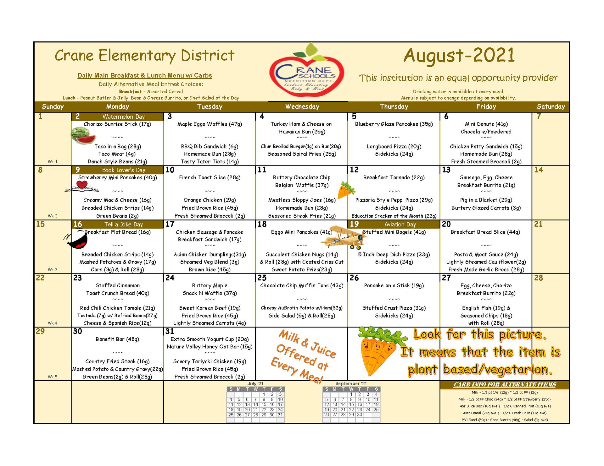 Crane Schools August Menu 2021