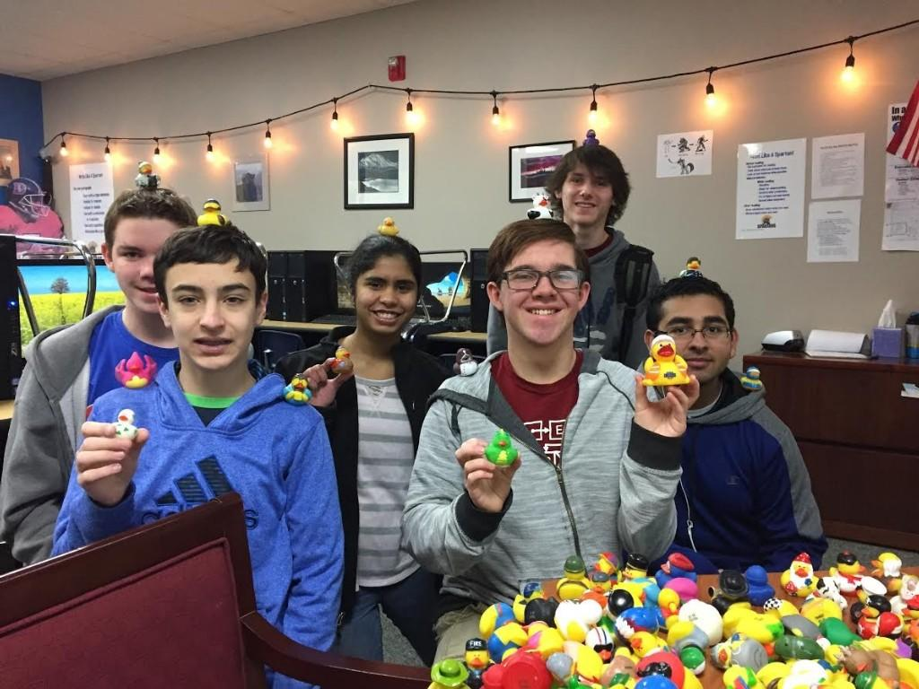 Students in AP Computer Science class holding Rubber Duckies