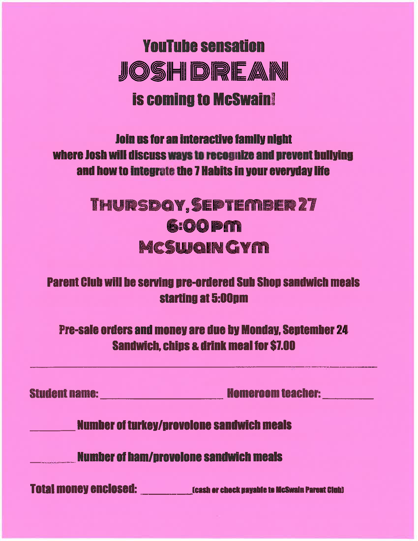 Josh Drean Family Night and meal order form