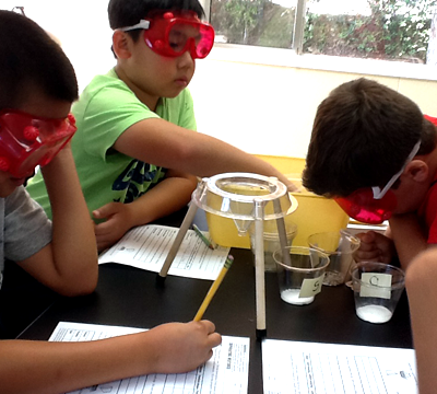 Children conducting an experiment