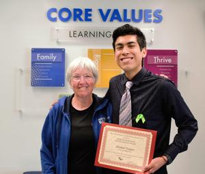 Sierra Vista High School valedictorian Abrahan Vasquez received $5,000 from the Ramona Burnham Scholarship Foundation, one of nine scholarships awarded at the Baldwin Park Unified Joint Scholarship Ceremony. The foundation was formed by the daughters of Burnham, a former Baldwin Park Unified teacher.