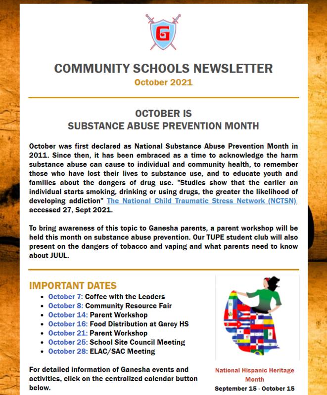 Community Schools October Newsletter