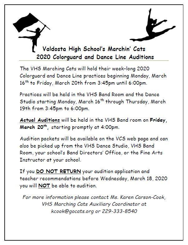 2020 Colorguard and Dance Line Auditions