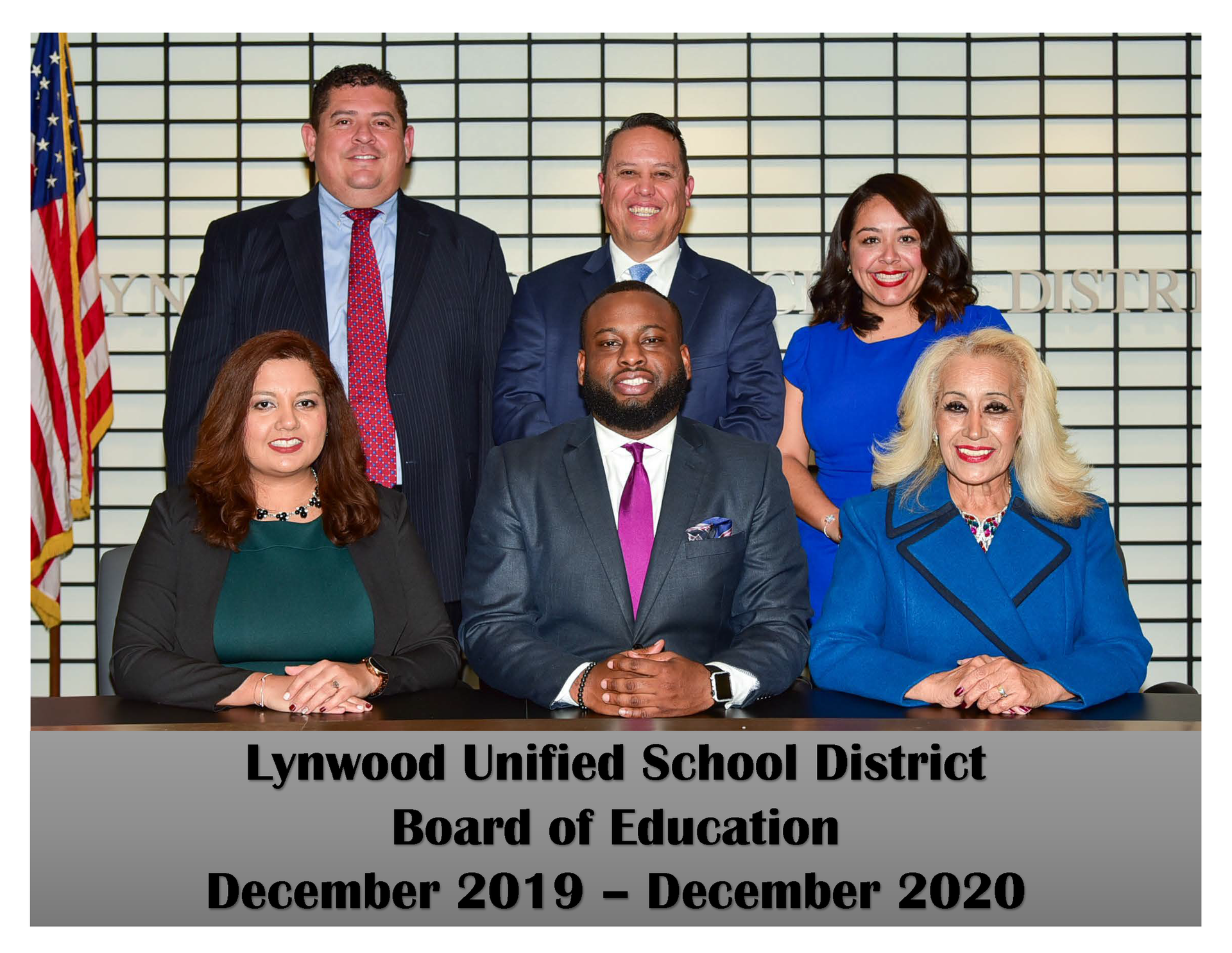 Group photo of the members of the Lynwood Unified School District Board of Education
