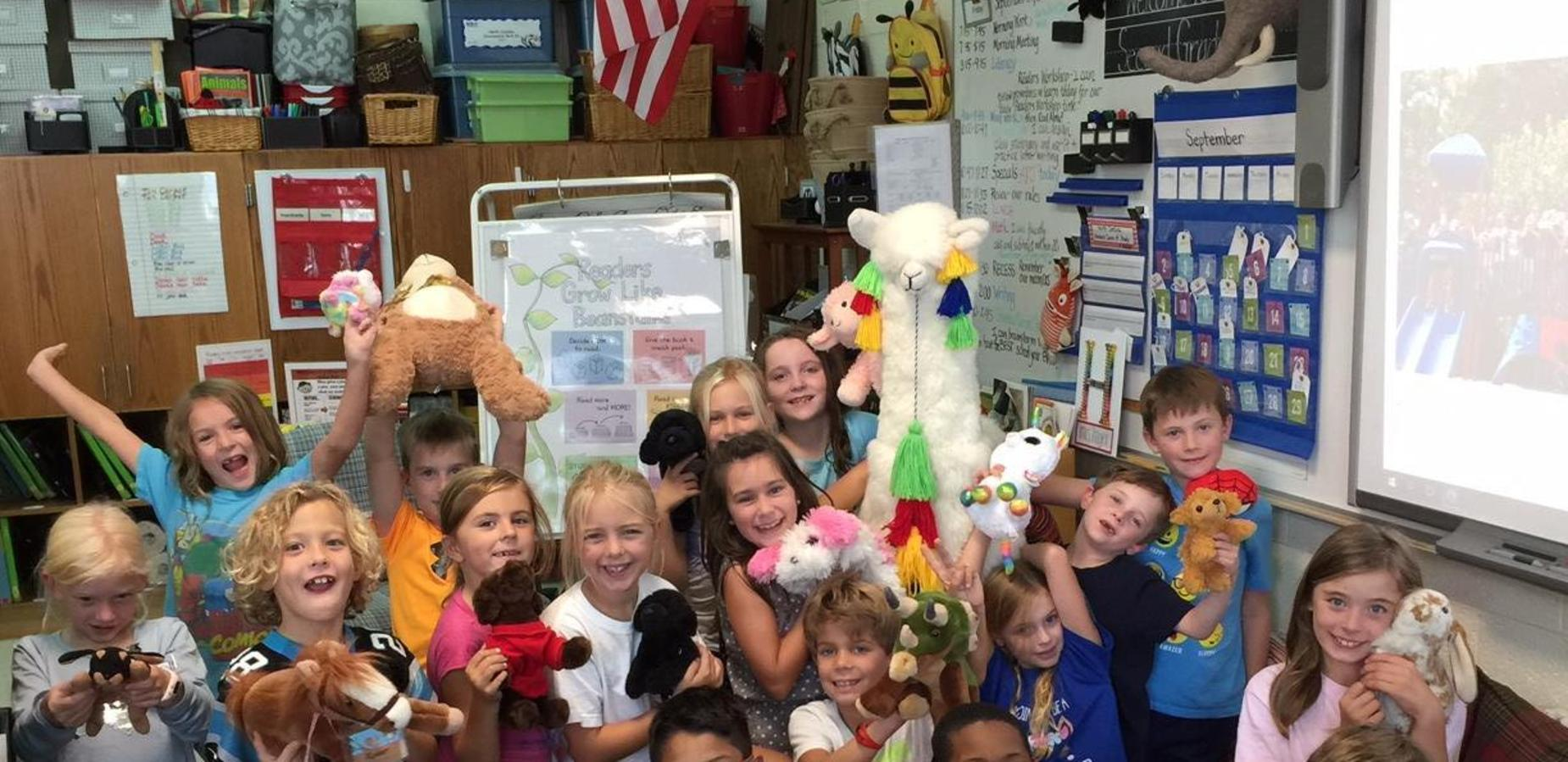 Students with stuffed animals
