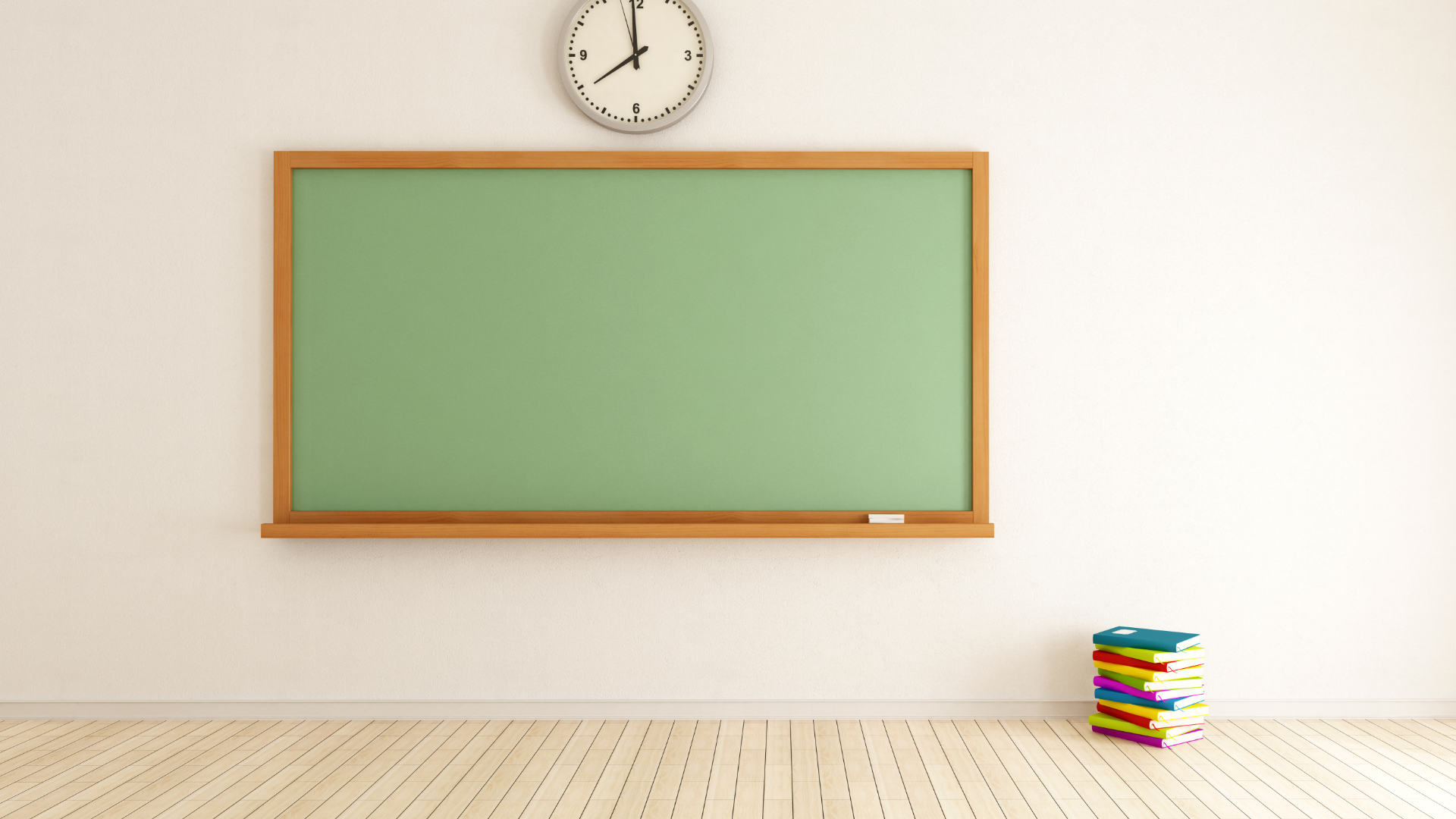 empty school room with chalkboard