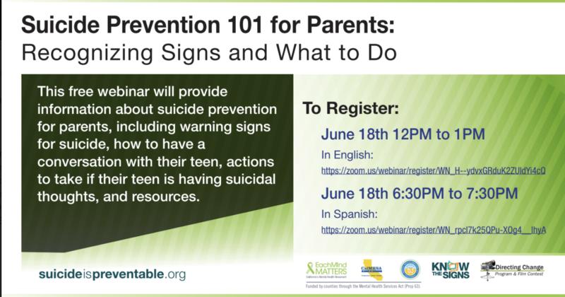 Suicide Prevention 101 for Parents / Prevención del suicidio 101 para padres