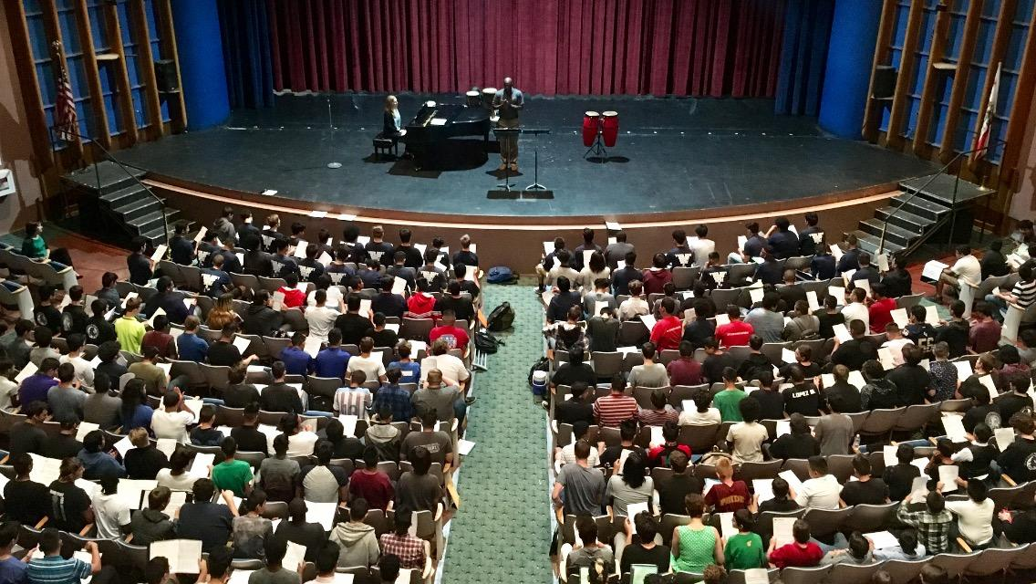 Overview of Real Men Sing event at BHS.