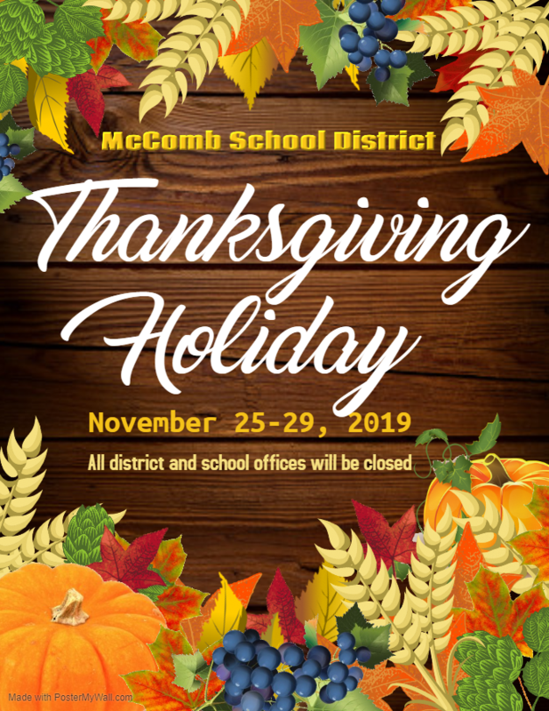 McComb School District Thanksgiving Holiday Break 2019