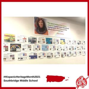 Artwork and student projects displayed for Hispanic Heritage Month