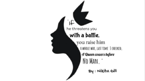Nikita Gill quote stylized with queen clipart