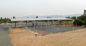Ground-mounted solar PV panels act as shade structures that create potential outdoor classroom space at Eagle Peak Middle School 9 2020