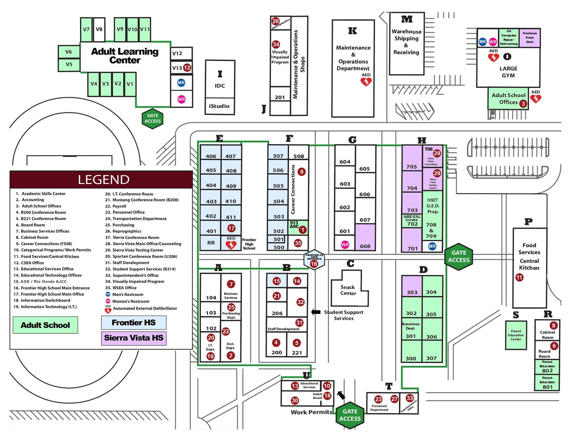 A map of the campus