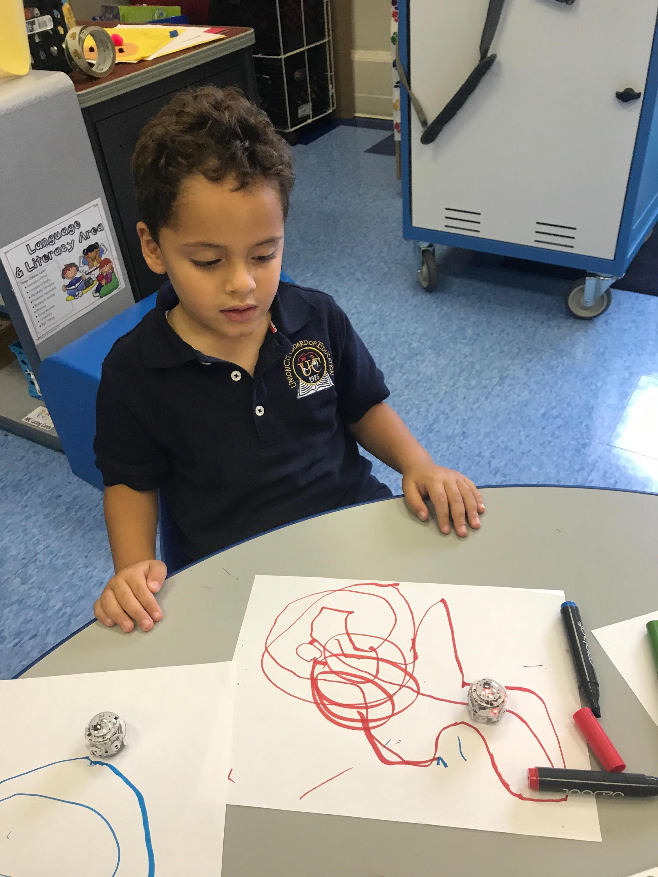 student testing his design.