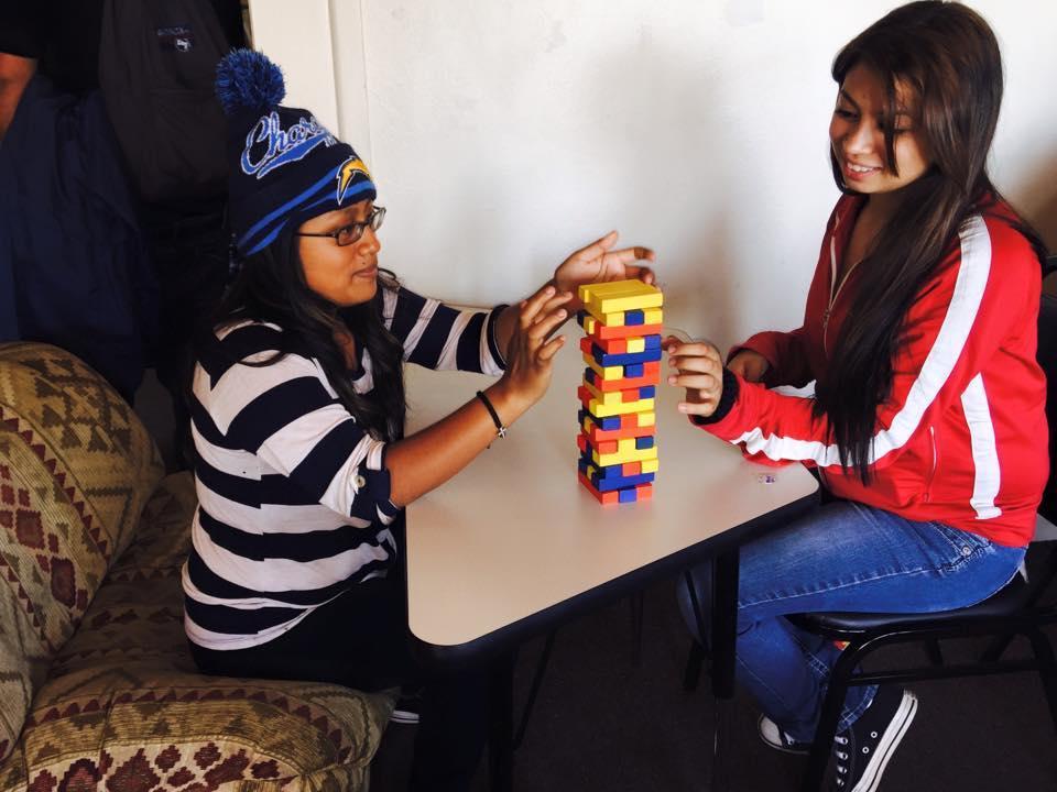 San Diego students playing Jenga