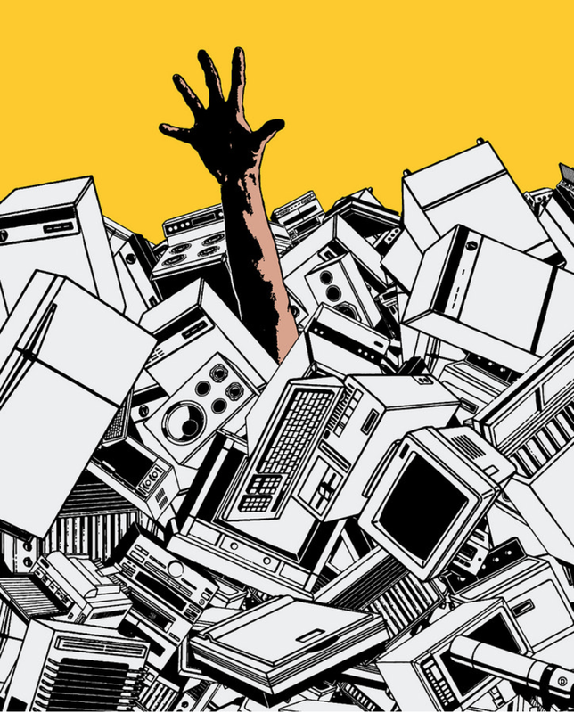 hand reaching out of pile of used appliances and electronics
