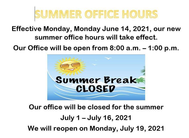 SUmmer Office Hours Info