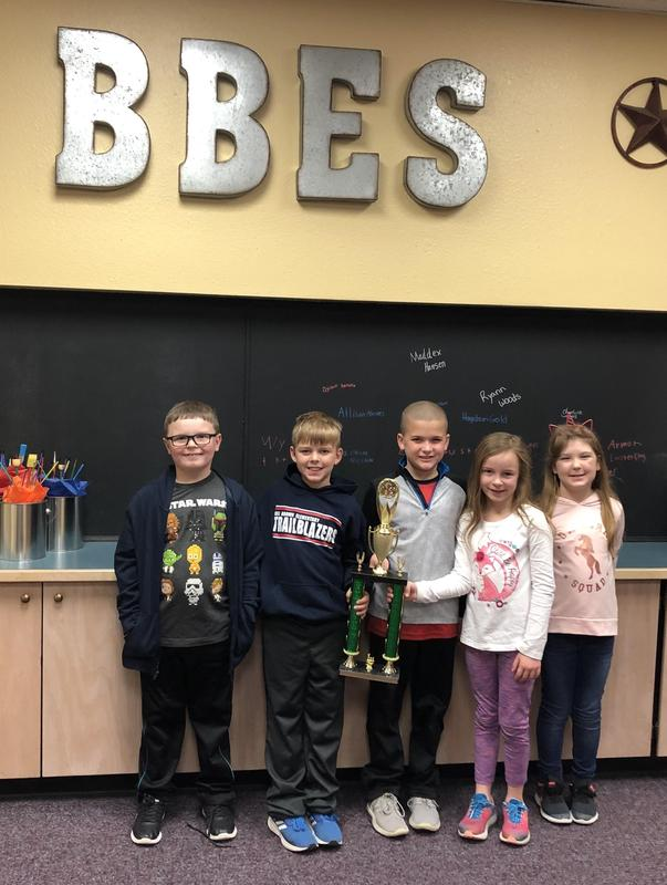 K-2nd Chess Team with trophy from CLHS Chess Tournament