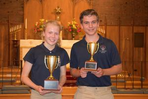 Ava Palmgren and Alex Kilani pose with their awards.