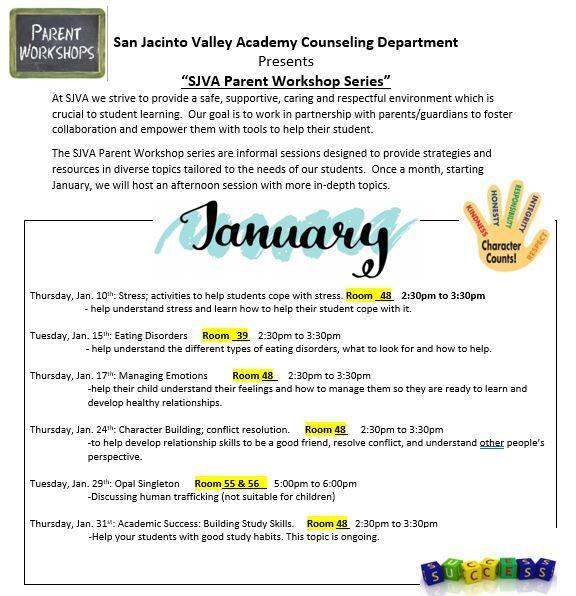 January Parent Workshop Series Featured Photo