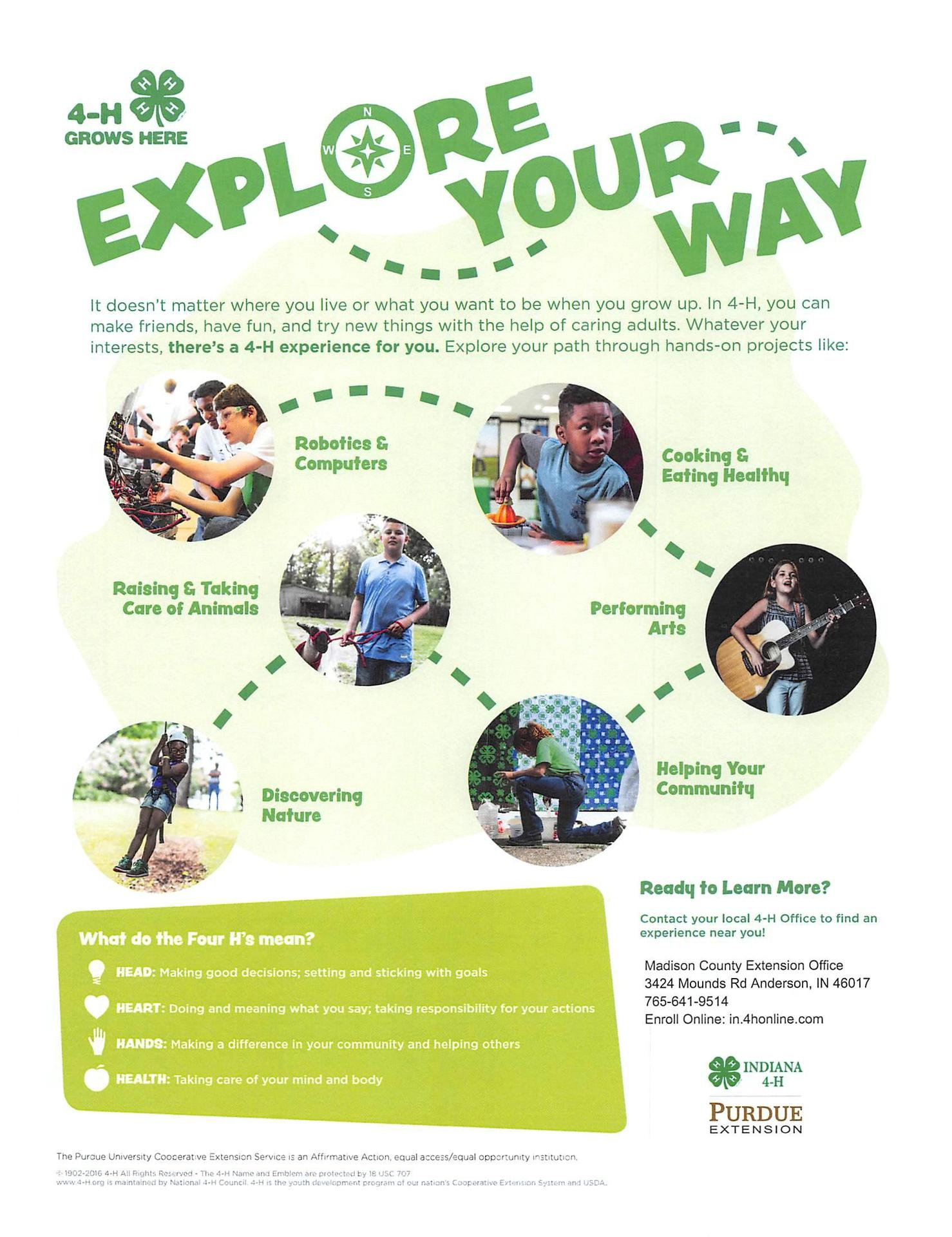 4H flyer for the 2019-20 school year