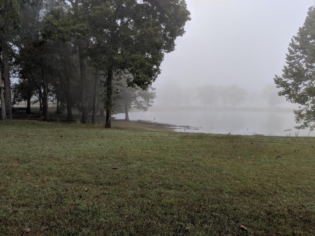 Landscape of the lake in the fog