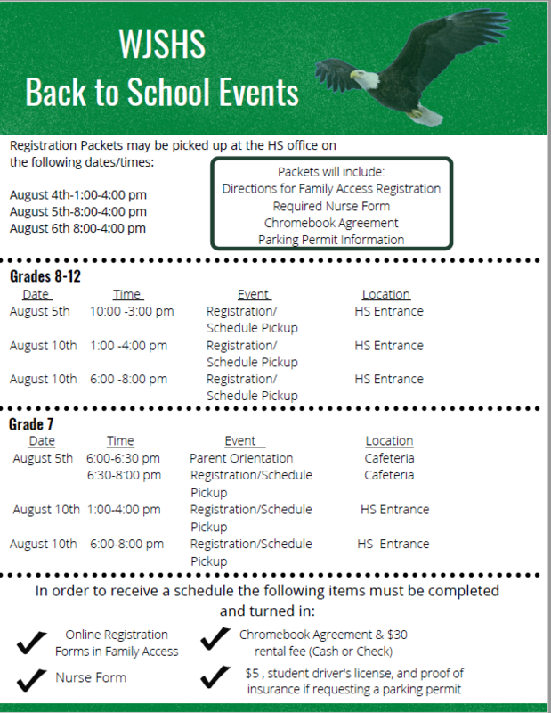 WJSHS Back to School Events Featured Photo