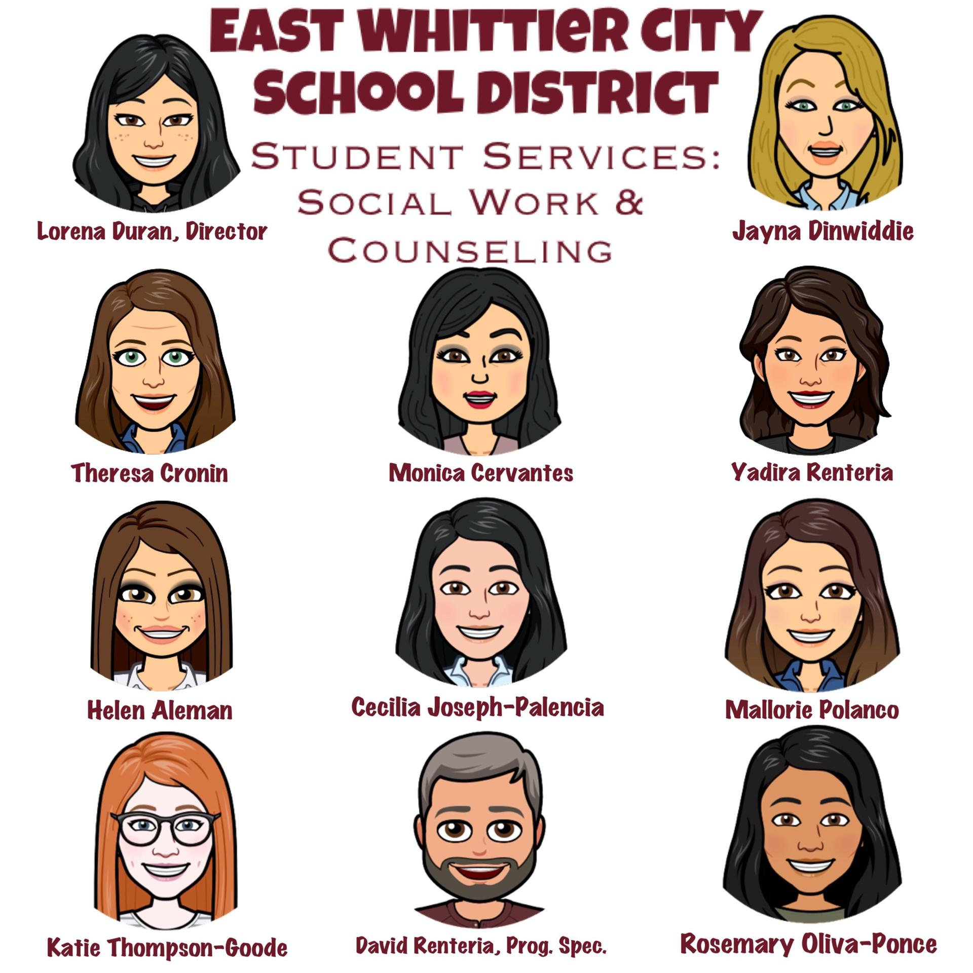 Bitmoji picture of counseling team